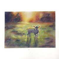 Original painting sheep landscape Art listed by artist Artettina 5 x 7 pastels
