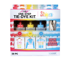 Tulip One-Step Tie-Dye Kit, Stripes, (Coral, Yellow and Sky Blue), 38 Pieces