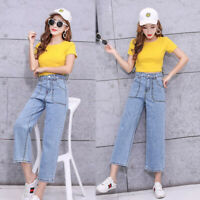 Womens Wide Leg High Waist Pockets Casual Loose Denim Sheer Trousers Pants Jeans
