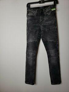 No Boundaries Women Moto Denim Jeans Size 28 X 30 Acid Wash Pleated New