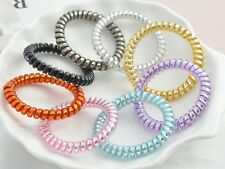 10 Spiral Coil Jelly Thin Elastic Hair Scrunchies Telephone Cord Ponytail Holder