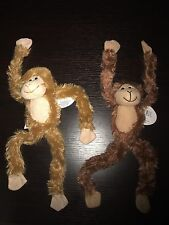 "(2) Two 19"" Plush Hanging Monkey STUFFED ANIMAL monkeys SOFT Hands NEW"