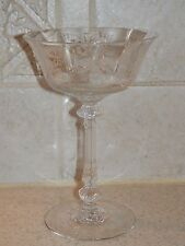 """HEISEY GLASS ORCHID ETCH TALL CHAMPAGNE SHERBET #5025  6 1/8"""""""