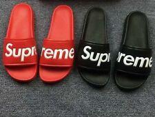 NEW Tops Supreme Red Black Slides Flip Flop Sandals Shoes Summer Beach Bape Men