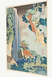 Vintage print art Japanese canvas katsushika hokusai painting waterfall