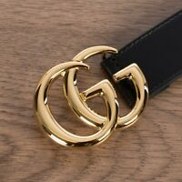 GUCCI 460$ Men's Black 30mm GG Marmont Leather Belt With Shiny Buckle