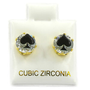 Mens Gold 7mm Round Surgical Steel Clear CZ Hip Hop Spade Stud Earrings