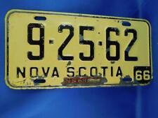 NOVA SCOTIA LICENSE PLATE 1966  9 25 62 1968 TAG VINTAGE CAR SHOP GARAGE SIGN