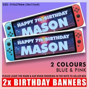 """2 PERSONALISED NINTENDO SWITCH BIRTHDAY BANNERS 36"""" x 11"""" GAMER ANY NAME & AGE"""