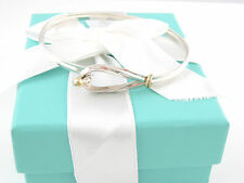 TIFFANY & CO SILVER 18K GOLD CURVED HOOK AND EYE BANGLE BRACELET BOX