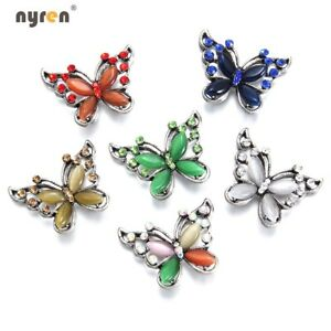Multi Color 18mm Snap Button Rhinestone Butterfly Snap Charms For Snap Jewelry