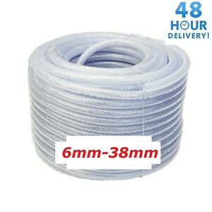 PVC HOSE Pipe Clear Flexible Reinforced Braided Food/Oil Grade WATER Tube 6-38mm
