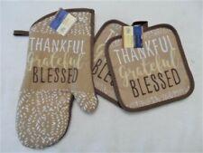 3 Piece Thankful grateful blessed Kitchen Decor 2 Potholders, 1 Oven mitt, set