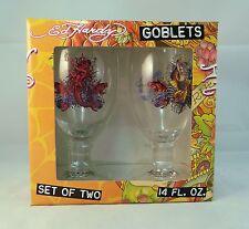 Set of 2 Don Ed Hardy Mermaid Goblets 14 oz