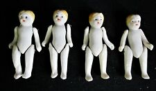 """4 Vintage Bisque Jointed Penny/Dollhouse Dolls, Unmarked - 2 1/8"""""""