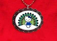 HELLO KITTY PEACOCK TEAL BIRD CAT PLUMES FEATHERS KAWAII PENDANT NECKLACE