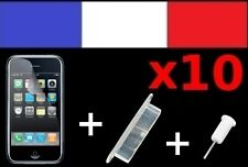 10 LOTS BLANCS anti-poussière + 10 FILM DE PROTECTION ECRAN iphone 3G 3Gs cache