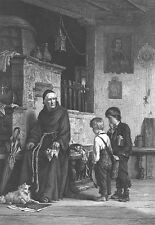 CATHOLIC PRIEST SCOLDS NAUGHTY BOYS GIVES THEM LOOK ~ 1879 Art Print Engraving