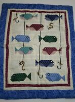 """Handmade Wall Art Quilt 24"""" x 20"""" Awesome fish for the cabin."""