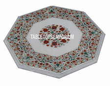 15'' White Marble Top Coffee Table Carnelian Marquetry Inlay Garden Home Decor