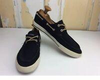 Tommy Hilfiger Black Canvas Boat Shoes TMPHILO Mens Size 8.5