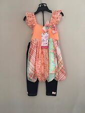 Young Hearts Sz 5T Girls Two Piece Spring Set NWT Patchwork Tunic w/ Jeggings
