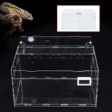 New listing 1/2 Grid Transparent Acrylic Lizard Cage Breeding Big Box for Pet w/ Thermometer