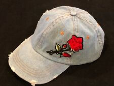 ae3ccbb9d6c David   Young Women s Washed Denim Distressed Baseball Cap Rose Embroidery