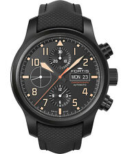 Fortis AEROMASTER STEALTH CHRONO Swiss day/date watch 42mm PVD case 656.18.18 LP