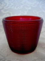 Unusual Collectible Vintage Ruby Red Pressed Glass Tealight / Votive