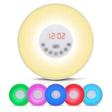 Wake-Up Light Sunrise Despertador LED Lámpara de noche Mesita de noche de Radio FM 7 Colores