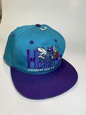 Vintage 1990s Charlotte Hornets Snapback Cap - NBA Basketball Teal & Purple Hat