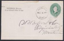 U.S., 1891.  Cover, Whitehall - Virginia City, Mt.
