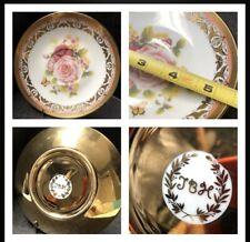 Vintage Hand Painted Porcelain Heavy Gold  & Roses Saucer JBH Czechoslovakia