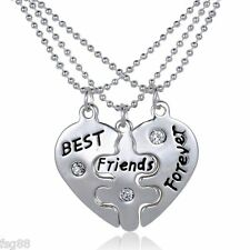 New BFF Best Friends Forever 3 Pendent Necklaces Pendant Heart Love Rhinestones