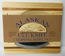 NEW! Alaskan ULU Knife w/ Stripe Chopping Board w/ Etched AK Mountain in Handle