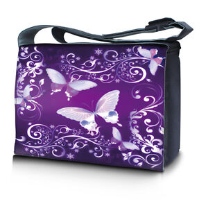 """17.3"""" 17"""" Laptop Notebook Padded Compartment Messenger Bag Purple Butterfly"""