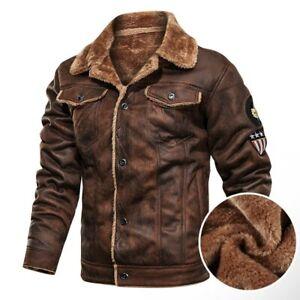 Mens Winter Retro Suede Leather Jacket Men Motorcycle Jacket Fur Lined Warm Coat