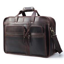"""Mens 17"""" Laptop Briefcase Messenger Shoulder Bag Luggage Travel Suitcase Leather"""