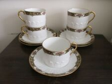 Chabrol Freres & Poirer CF & P Limoges France Set Of 5 Cup And Saucer Roses