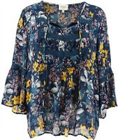 Haute Hippie Tribe 'Harlan' Tie-Neck Peasant Blouse Blue Floral 3X NEW A370021