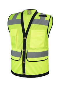 Lime Class 2 Heavy Duty Surveyor Safety Vest With Tablet Pocket on the Back