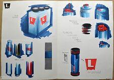LEVIS Energy Drink DESSIN ORIGINAL ETUDE DESIGN flacon logo vintage1980
