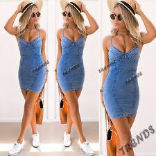 UK Womens Bodycon Denim Jean Dress Ladies Party Evening Mini Dress Size 6-14 Hot