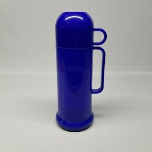 Vintage Blue Plastic Thermos Model 60-50A with 0.45L Vacuum Glass Liner