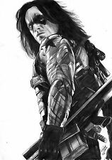 Marvel Comics Winter Soldier Original Art 11x17, Captain America Civil War Movie