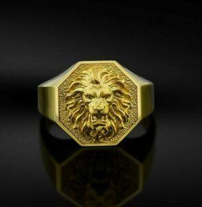 Solid Gold 14k 18k Signet Zodiac Lion jungle king head animal Men's Ring Gift