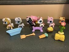 Littlest Pet Shop Lot 6 Horse Pony & Accessories Black Pink Tan Brown White
