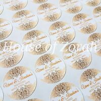 Personalised White and Gold Vintage Wedding Party Thank You Stickers Labels