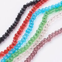 "10 Strands 15 Colors 18.9"" Faceted Rondelle Transparent Glass Beads Strands"